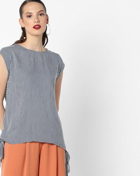 Sleeveless Striped Top With Tie-Ups By AJIO ( Blue )