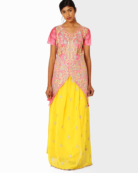 Semi-Stitched Dress Material By Viva N Diva ( Yellow )