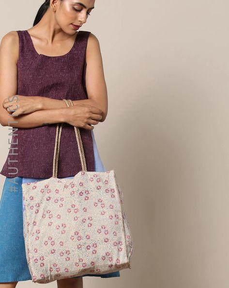 Sanganeri Handblock Print Cotton Jute Handbag By Awdhesh Kumar ( White )
