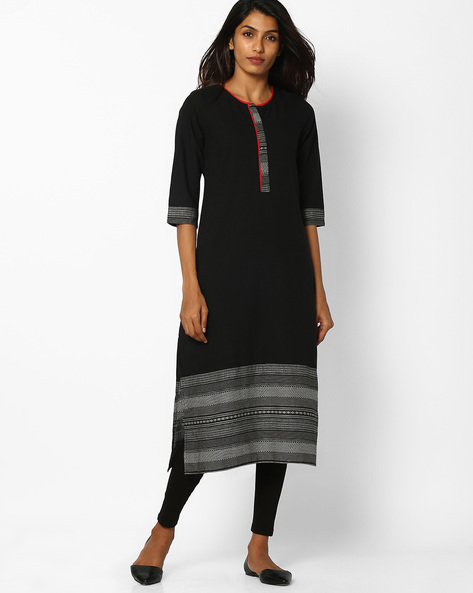 Straight Kurta With Contrast Print Hems By AURELIA ( Black )