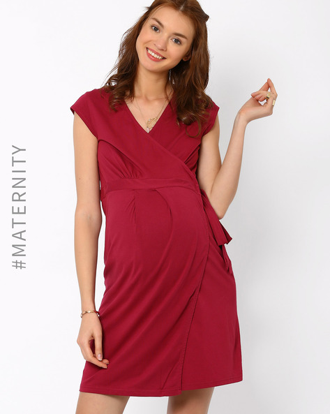 Adjustable Pre & Post-Natal Dress By AJIO ( Maroon )