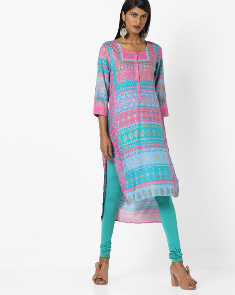 Floral Print High-Low Kurta By Melange By Lifestyle ( Pink )