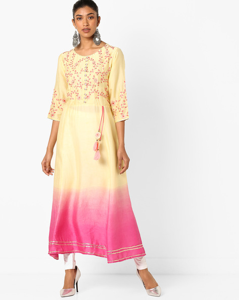 Ombre-Dyed Maxi Dress With Floral Embroidery By Shree ( Pink )