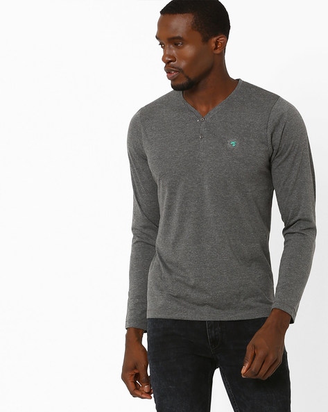 Slim Fit Henley T-shirt By The Indian Garage Co ( Lightgrey )