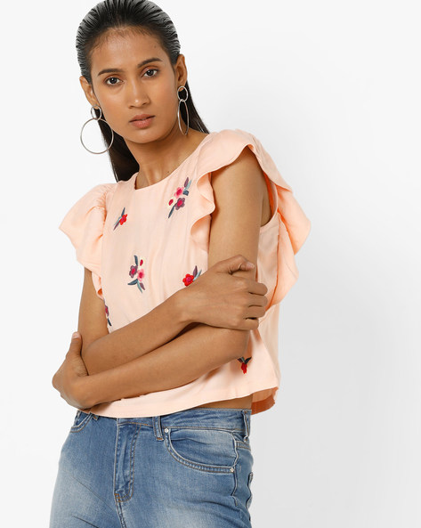 Embroidered Top With Ruffled Sleeves By AJIO ( Peach )