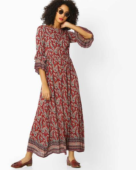 Printed Maxi Dress With Layered Sleeves By Rena Love ( Maroon )