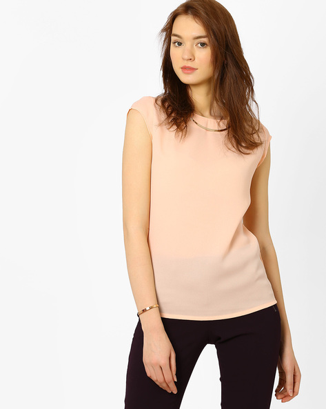 Top With Metallic Detail By AJIO ( Peach )