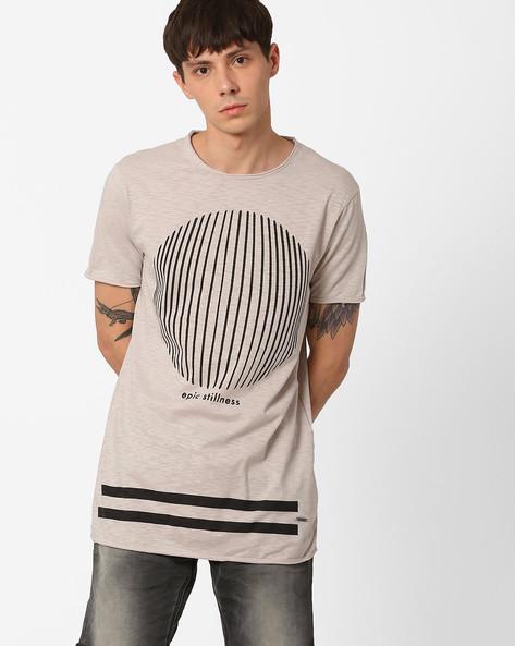 Pigment Print Longline T-Shirt By AJIO ( Navy )