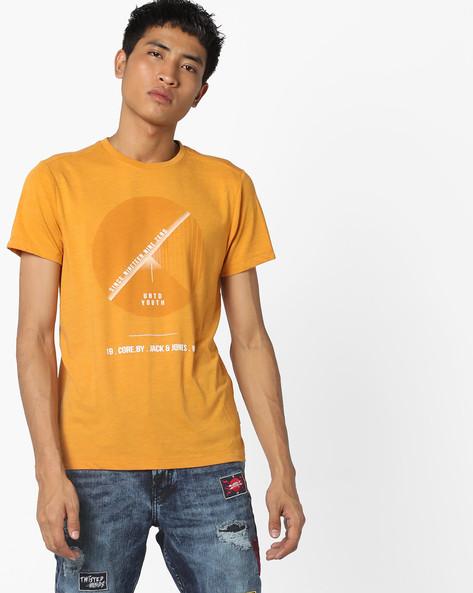 Graphic Print T-shirt By Jack & Jones ( Orange )