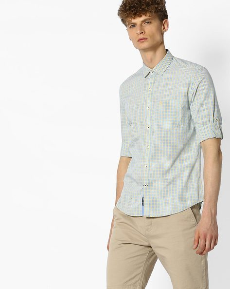 Checked Shirt With Curved Hem By NETPLAY ( Yellow )