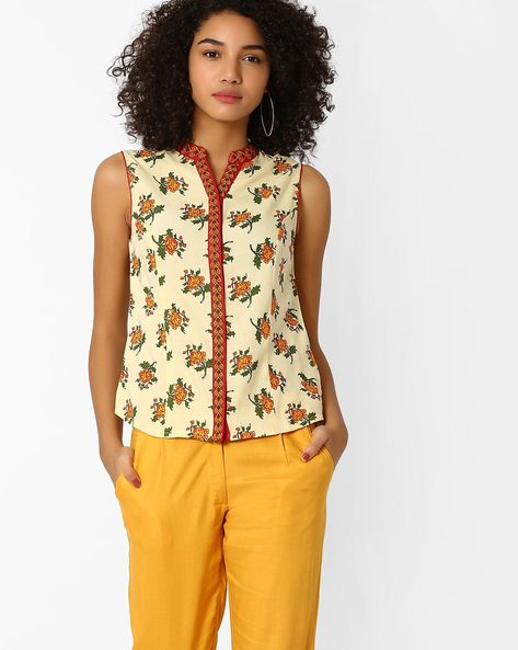 Sleeveless Floral Print Top By AJIO ( Mustard )