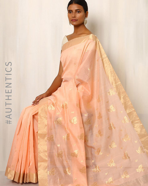 Handwoven Pure Silk Cotton Chanderi Saree By Indie Picks ( Green ) - 460037189001