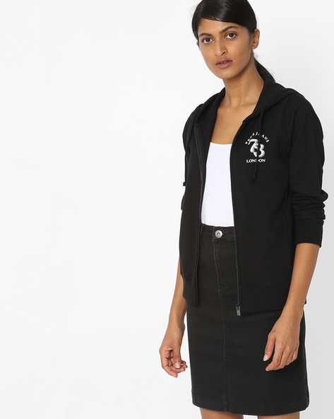 Zip-Front Hooded Sweatshirt By Pepe Jeans ( Black )