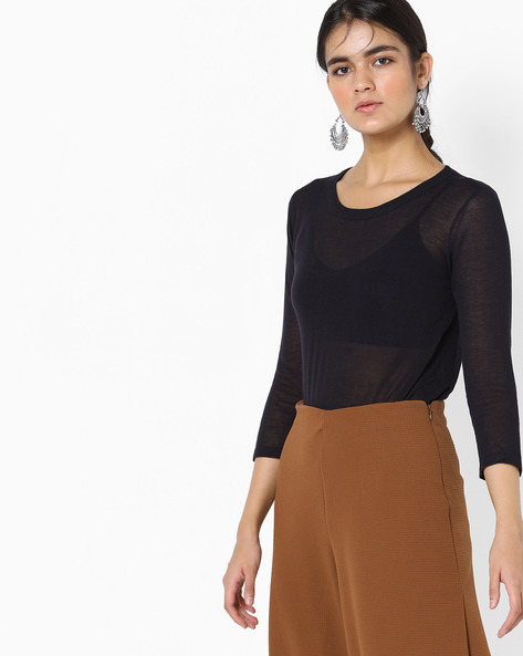 Knit Top With Dipped Hemline By Project Eve WW Casual ( Black )