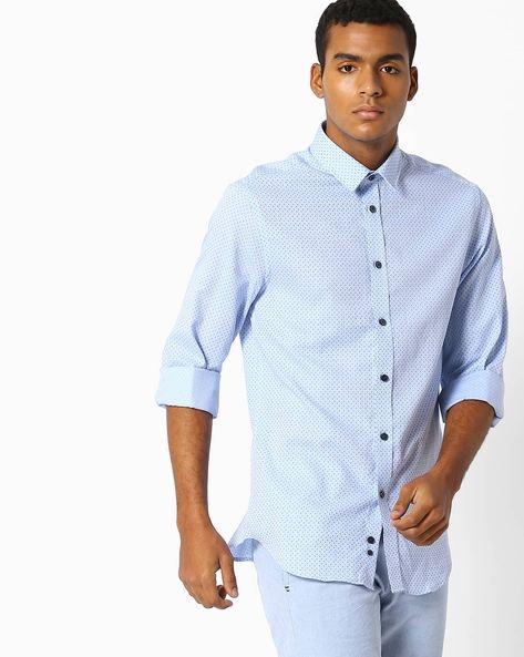 Printed Slim Fit Shirt By Celio ( Blue )
