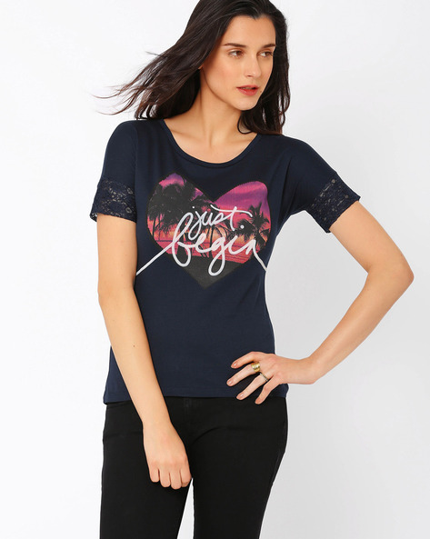 Graphic Print T-shirt By Ajile By Pantaloons ( Navyblue )