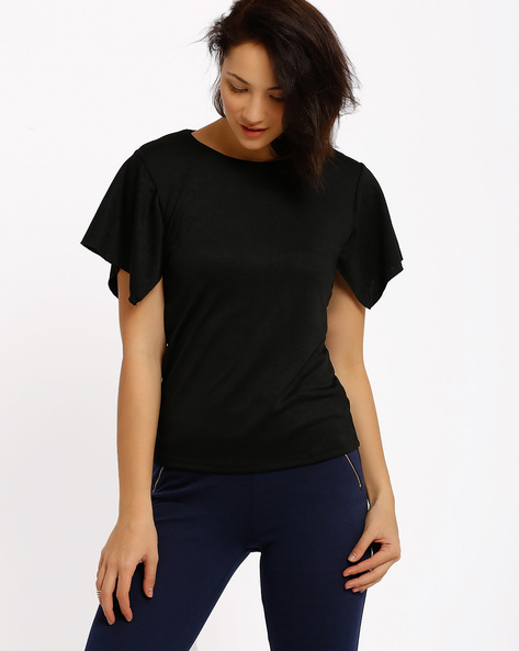 Top With Flutter Sleeves By Annabelle By Pantaloons ( Black )