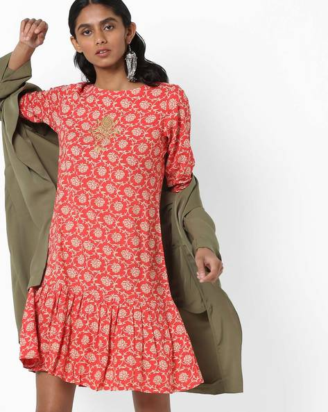 Floral Print A-line Dress With Flounce Hem By AJIO ( Red )
