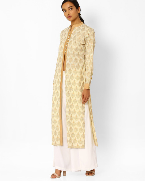 Printed Kurta With Front Slit By Bannos Swagger ( Beige )