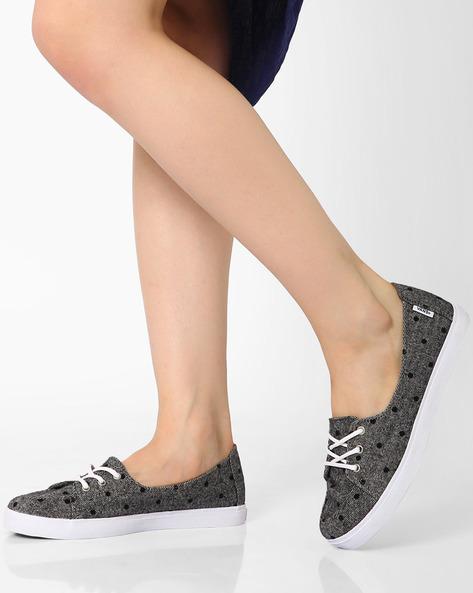Printed Tweed Casual Lace-Up Shoes By Vans ( Grey )