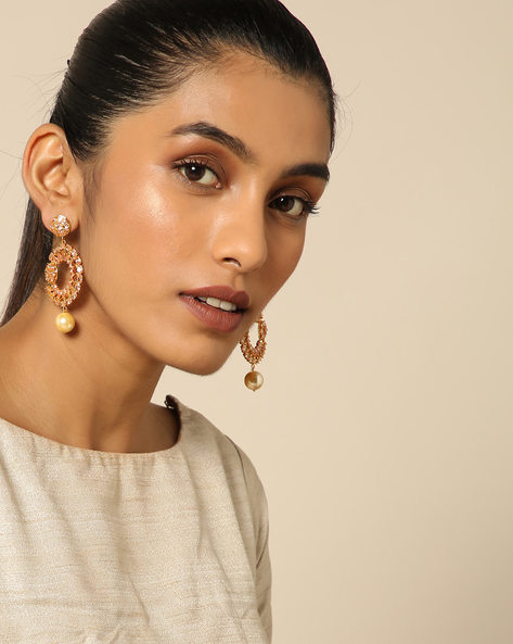 Floral Stone Earrings With Pearl Drop By Spargz ( Gold )