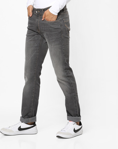 Lightly Washed Slim Fit Jeans By Pepe Jeans ( Blacksilver )