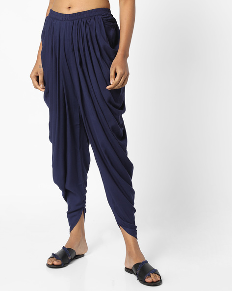 Dhoti Pants With Elasticated Waist By AJIO ( Navy )