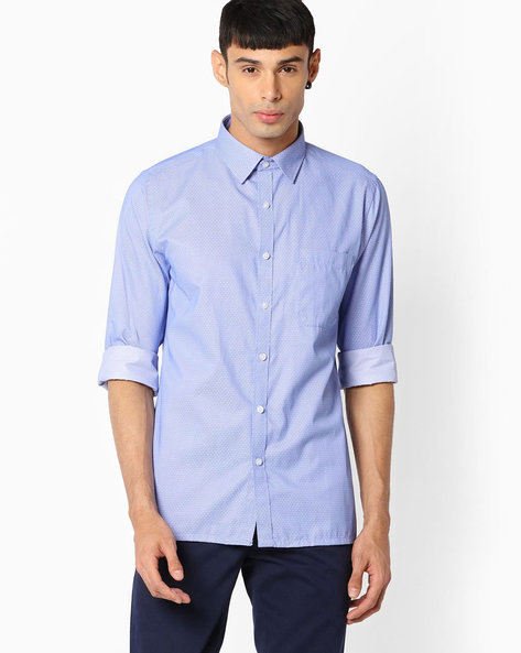 Regular Fit Shirt With Patch Pocket By VIMAL APPARELS ( Navy ) - 438042927004