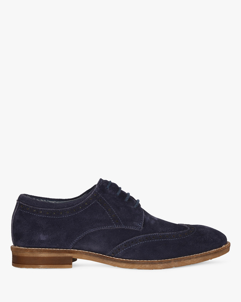 Genuine Leather N9-Treated Casual Shoes By AJIO ( Navy )
