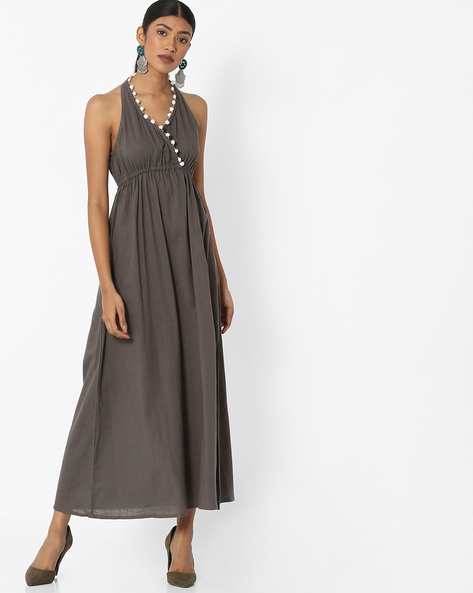 Halter-Neck Maxi Dress By Desi Fusion ( Grey )