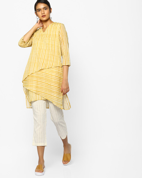 Striped Layered Tunic By PE IW Fusion ( Yellow )