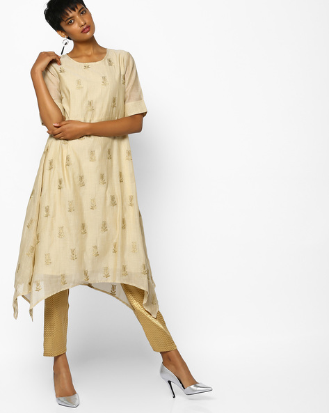 Embroidered Kurta With Handkerchief Hemline By PE IW Evening ( Offwhite )