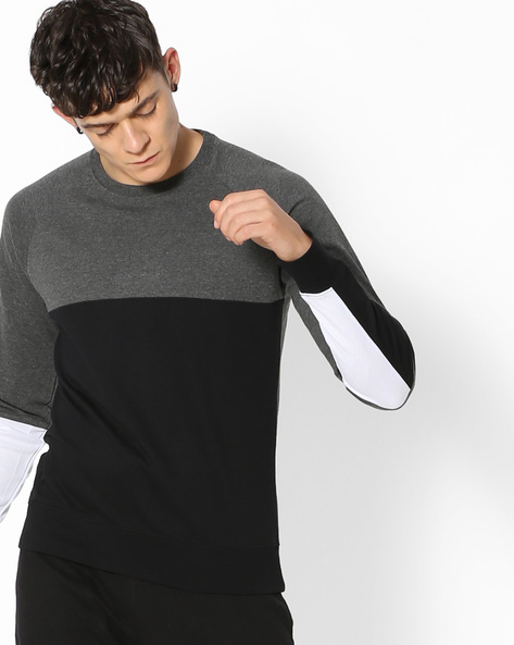 Colourblock Crew-Neck Sweatshirt By Blue Saint ( Darkgrey )