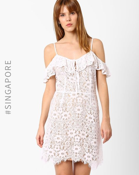 Cold-Shoulder Lace Fit & Flare Dress By MDS ( White )