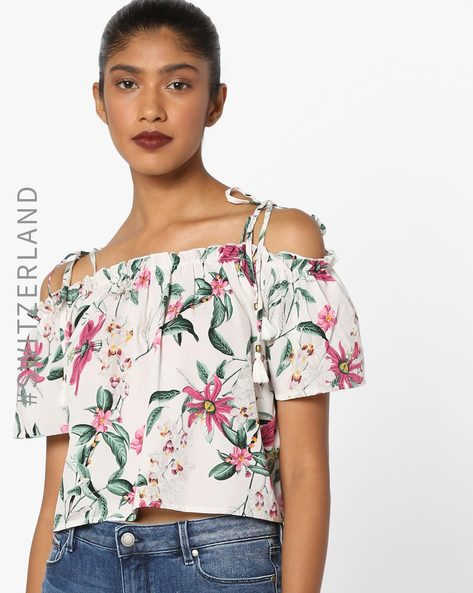 Floral Print Off-Shoulder Top With Tie-Ups By TALLY WEiJL ( Pink )