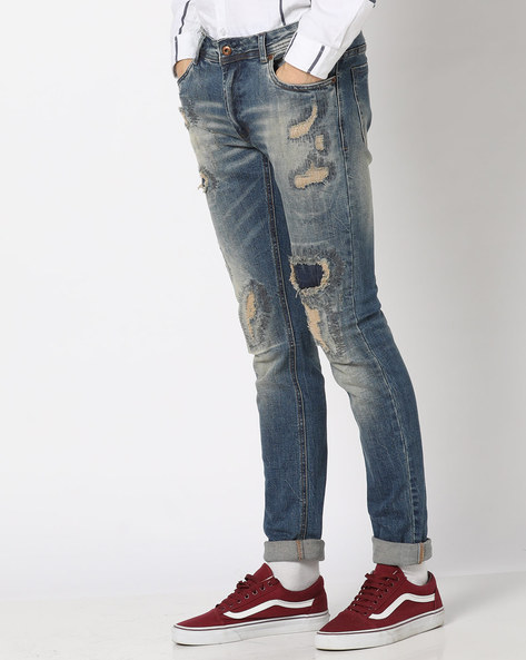 Slim Fit Mid-Wash Distressed Jeans By RexStraut JEANS ( Blue )