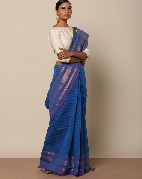 Pure Cotton Mercerised Saree With Zari Border By Indie Picks ( Blue )