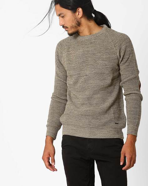 Regular Fit Pullover With Elbow Patch By AJIO ( Khaki )
