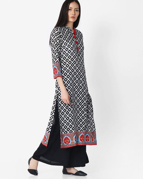 Printed Straight Kurta By Indian Ink ( Blackwhite )