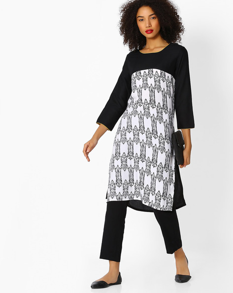 Printed Straight Kurta With Contrast Yoke By Aaboli ( White )