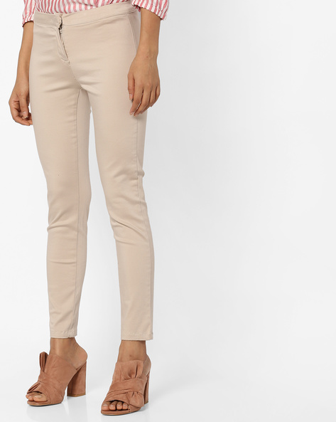 Mid-Rise Flat-Front Trousers By CODE By Lifestyle ( Nude )