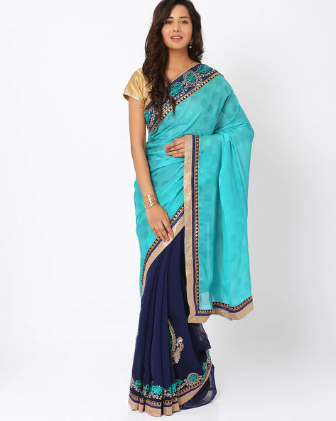 Embroidered Crepe Jacquard & Chiffon Half & Half Saree By Majestic Silk ( Blue )