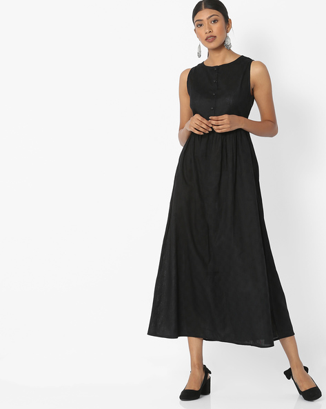 Sleeveless Midi Dress With Waist Tie-Up By Desi Fusion ( Black )
