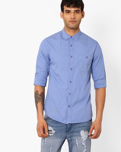 Slim Fit Shirt With Patch Pocket By Blue Saint ( Blue )