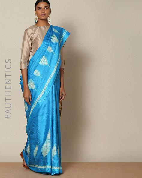 Pure Silk Tussar Desi Shibori Saree By Rudrakaashe-MSU ( Blue ) - 460128264001