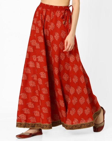 Printed Maxi Skirt By AJIO ( Rust )