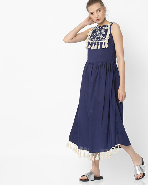 A-line Dress With Tassels By Rena Love ( Navyblue )