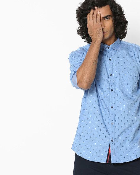 Novelty Print Slim Shirt By British Club ( Blue )