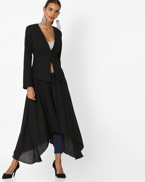 Layered Button-Front Long Jacket By Deal Jeans ( Black )