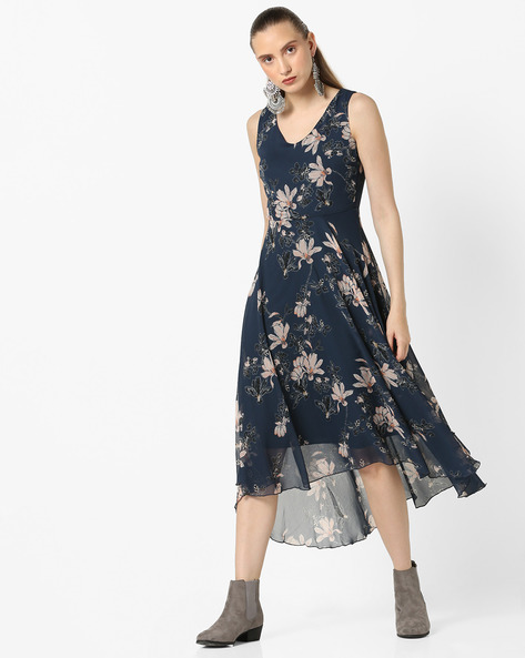 Floral Print Dress With Asymmetric Hem By CODE By Lifestyle ( Navy )